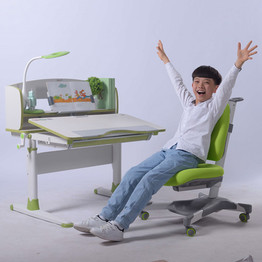 Green Color Study Table and Chair for School Children