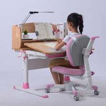 Pink Color Table and Chair for Girl Homework Table